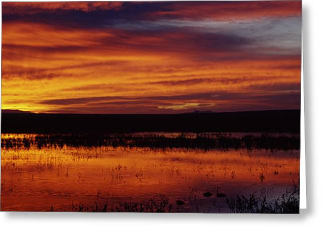 Wildlife Refuge. Greeting Cards - Clouds Over A Lake, Bosque Del Apache Greeting Card by Panoramic Images