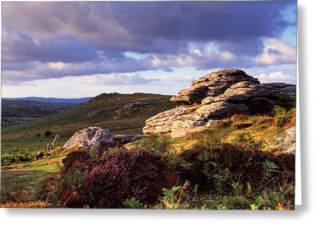 Tor Greeting Cards - Clouds Over A Landscape, Haytor Rocks Greeting Card by Panoramic Images
