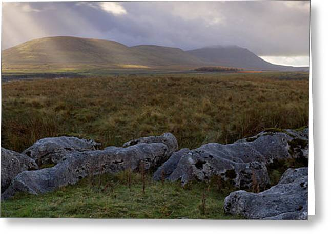 Overcast Day Greeting Cards - Clouds Over A Landscape, Ingleborough Greeting Card by Panoramic Images
