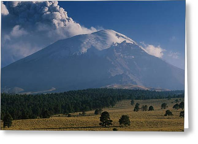 Puebla Greeting Cards - Clouds Over A Mountain, Popocatepetl Greeting Card by Panoramic Images