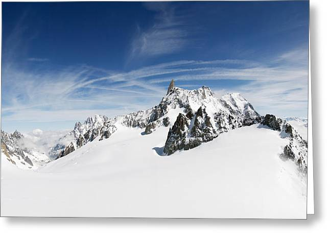 Geographical Locations Greeting Cards - Clouds Over A Snow Covered Mountain Greeting Card by Panoramic Images