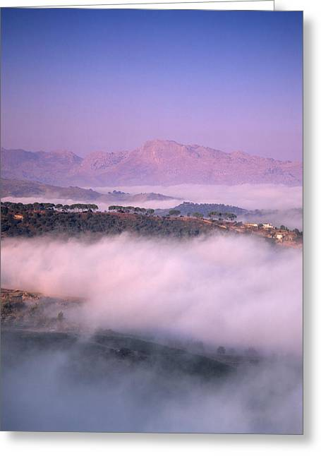 Malaga Greeting Cards - Clouds Over A Valley, Guadalevin Greeting Card by Panoramic Images