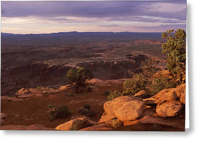 Overcast Day Greeting Cards - Clouds Over An Arid Landscape Greeting Card by Panoramic Images