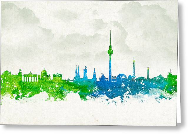 Culture Mixed Media Greeting Cards - Clouds Over Berlin Germany Greeting Card by Aged Pixel