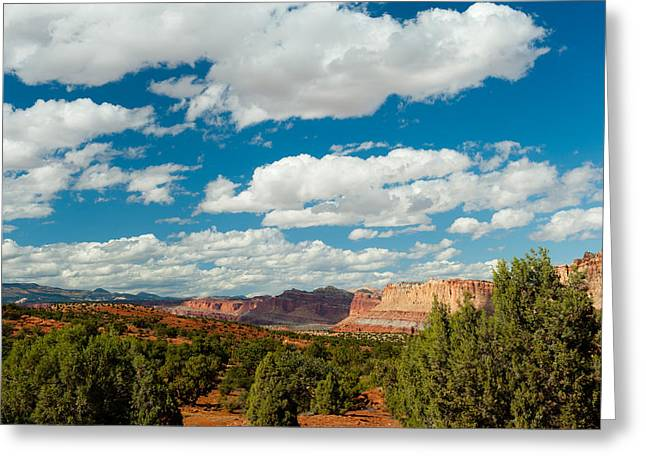 Capitol Greeting Cards - Clouds Over Capitol Reef National Park Greeting Card by Panoramic Images