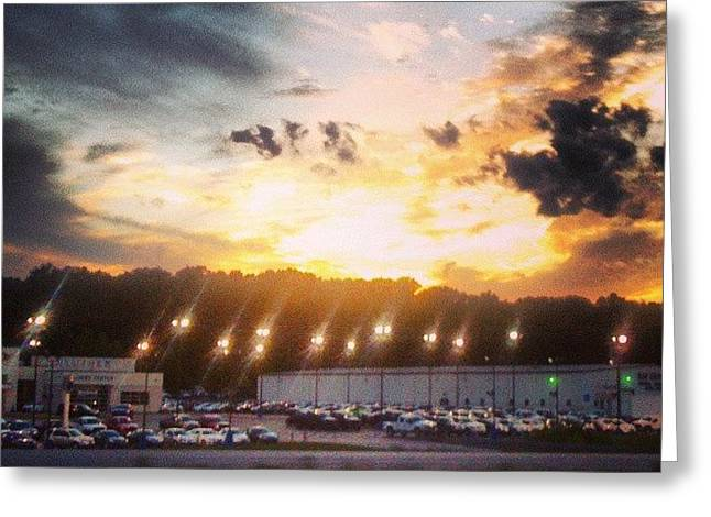 Haze Paintings Greeting Cards - Clouds Over Car Lot Greeting Card by Genevieve Esson