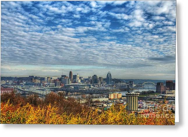 Mel Steinhauer Greeting Cards - Clouds Over Cincinnati Greeting Card by Mel Steinhauer