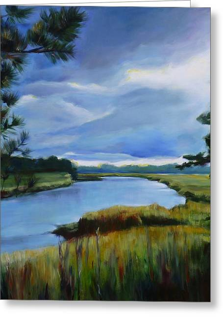 Conestoga Paintings Greeting Cards - Clouds Over Conestogo River Greeting Card by Sheila Diemert