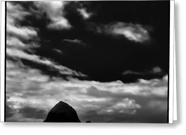 Clouds over Haystack Rock on Cannon Beach Greeting Card by David Patterson