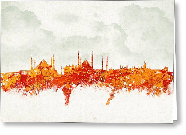 Seraglio Greeting Cards - Clouds Over Istanbul Turkey Greeting Card by Aged Pixel