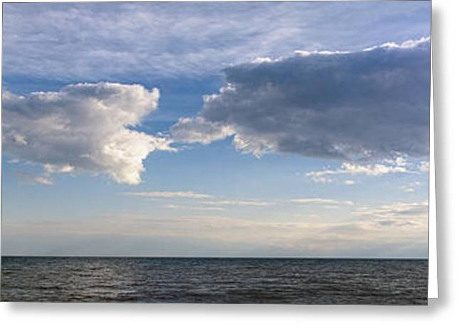 Light And Dark Greeting Cards - Clouds Over Lake Panorama Greeting Card by Jocelyn Ball