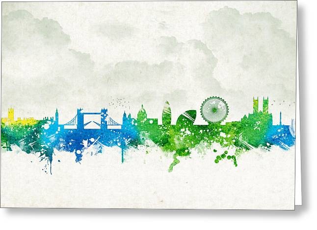 The Church Mixed Media Greeting Cards - Clouds Over London England Greeting Card by Aged Pixel