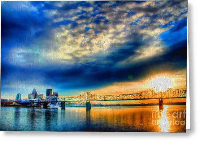 Indiana Scenes Greeting Cards - Clouds over Louisville Greeting Card by Darren Fisher
