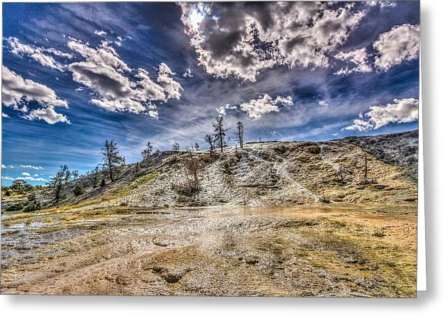 Yellowstone National Park Greeting Cards - Clouds over Mammoth Hot Springs  Greeting Card by Jeff Donald