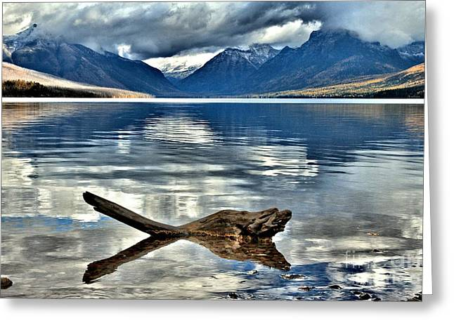 Lake Mcdonald Greeting Cards - Clouds Over McDonald Greeting Card by Adam Jewell