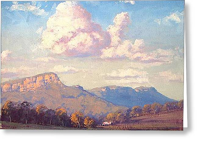 Shed Paintings Greeting Cards - Clouds over Megalong Greeting Card by Graham Gercken
