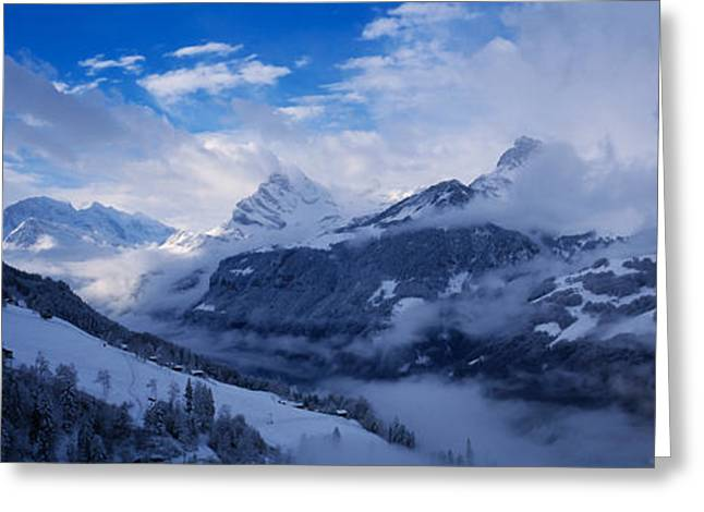 Mountain Greeting Cards - Clouds Over Mountains, Alps, Glarus Greeting Card by Panoramic Images