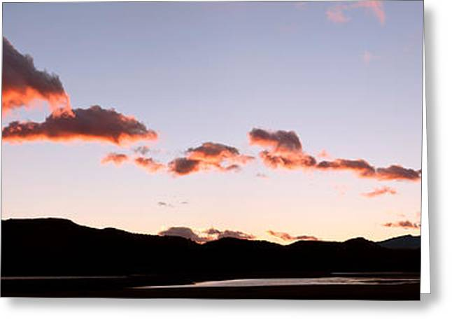 Grey Clouds Greeting Cards - Clouds Over Mountains At Sunrise, Lago Greeting Card by Panoramic Images