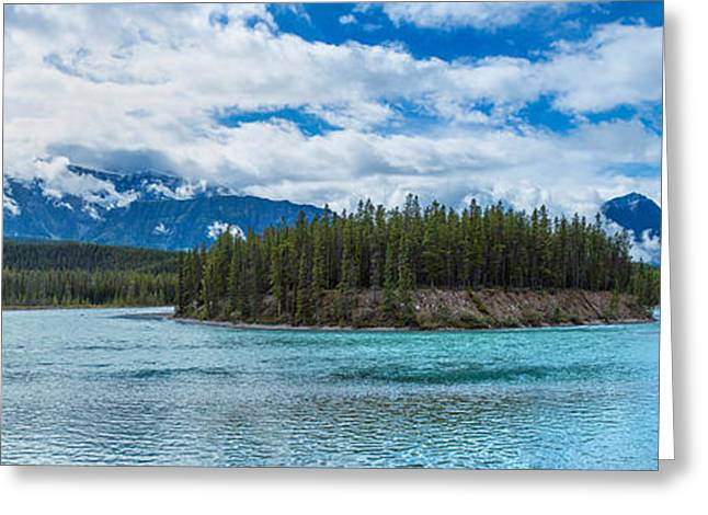 Jasper National Park Greeting Cards - Clouds Over Mountains, Athabasca River Greeting Card by Panoramic Images