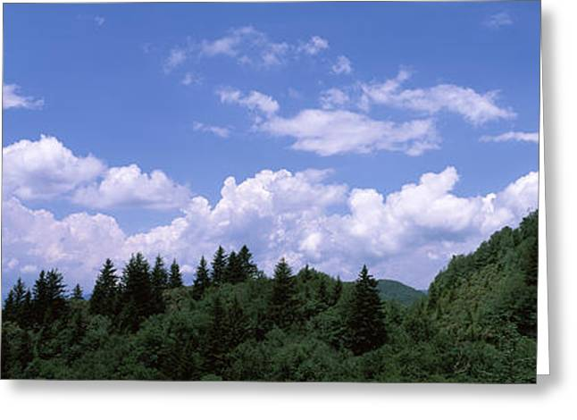 Green Cherokee Greeting Cards - Clouds Over Mountains, Cherokee, Blue Greeting Card by Panoramic Images