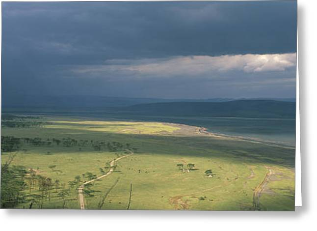 Bare Trees Greeting Cards - Clouds Over Mountains, Lake Nakuru Greeting Card by Panoramic Images
