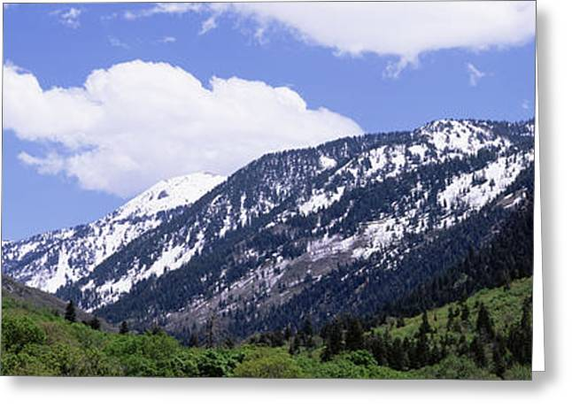 Little Cottonwood Canyon Greeting Cards - Clouds Over Mountains, Little Greeting Card by Panoramic Images