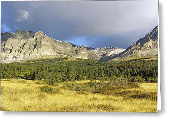 Many Glacier Greeting Cards - Clouds Over Mountains, Many Glacier Greeting Card by Panoramic Images