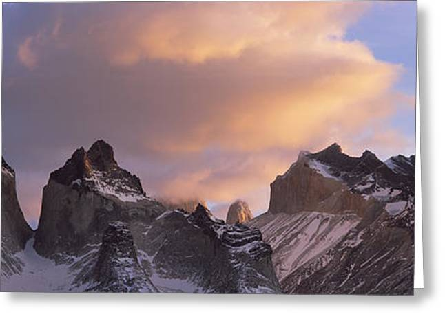 Paine Greeting Cards - Clouds Over Mountains, Torres Del Greeting Card by Panoramic Images