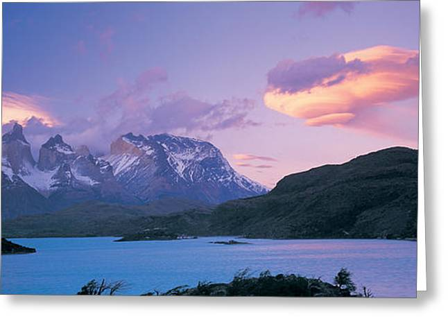 Paine Greeting Cards - Clouds Over Mountains, Towers Of Paine Greeting Card by Panoramic Images