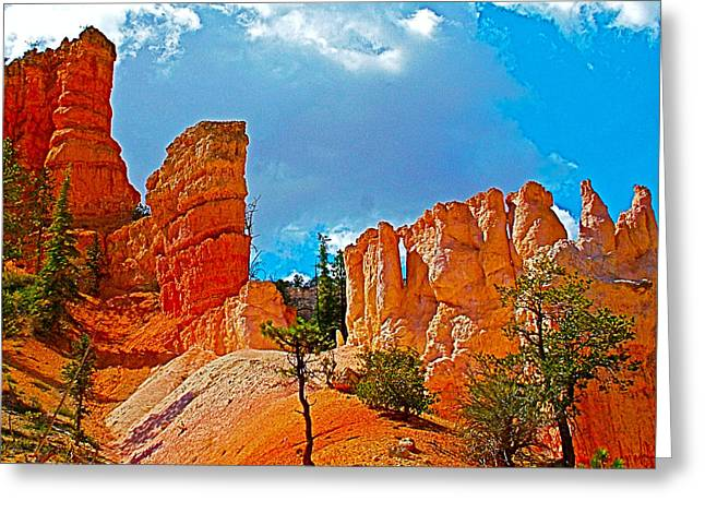 Clouds Over Canyon Greeting Cards - Clouds over Pinnacles along Fairyland Loop Trail in Bryce Canyon National Park-Utah Greeting Card by Ruth Hager