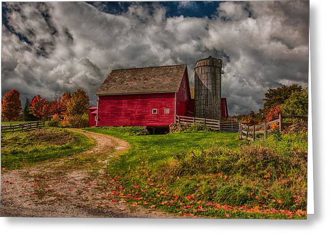 """autumn Foliage New England"" Greeting Cards - Clouds over rustic Vermont farm Greeting Card by Jeff Folger"
