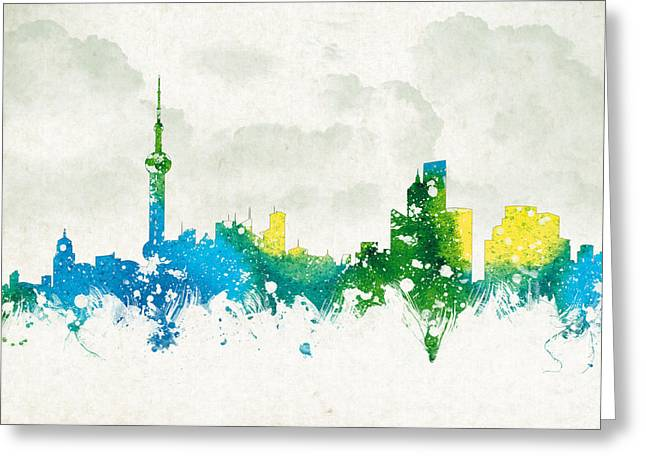 Historic Building Mixed Media Greeting Cards - Clouds Over Shanghai China Greeting Card by Aged Pixel