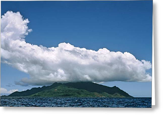 Panoramic Ocean Greeting Cards - Clouds Over Silhouette Island Greeting Card by Panoramic Images