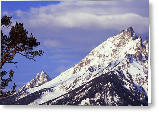 Pinus Greeting Cards - Clouds Over Snowcapped Mountains, Grand Greeting Card by Panoramic Images