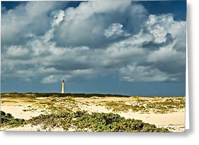 California Lighthouse Greeting Cards - Clouds Over The Beach With California Greeting Card by Panoramic Images