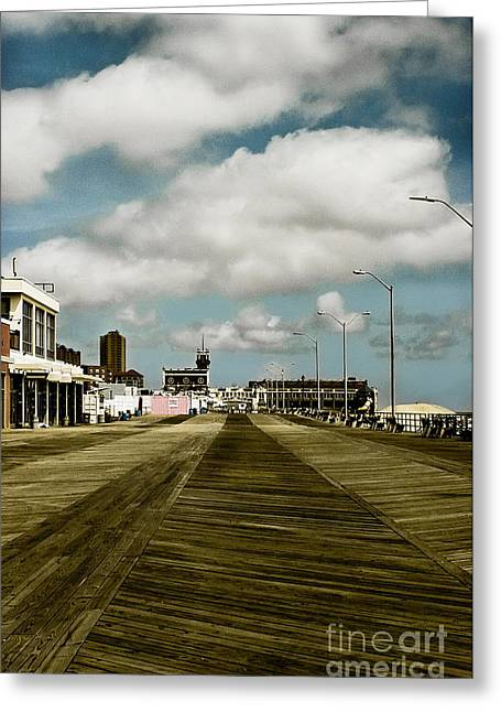 Original Art Photographs Greeting Cards - Clouds Over the Boardwalk Greeting Card by Colleen Kammerer