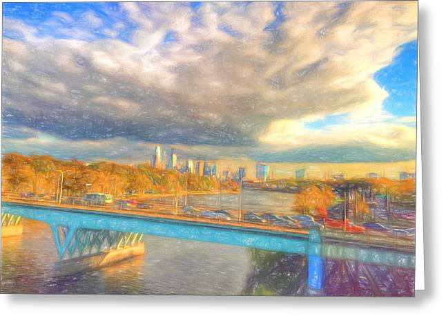 Philadelphia Park Drawings Greeting Cards - Clouds Over The City Greeting Card by Alice Gipson