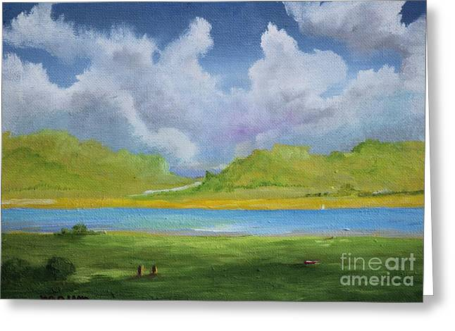 Puerto Rican Artist Greeting Cards - Clouds Over the Lake Greeting Card by Alicia Maury