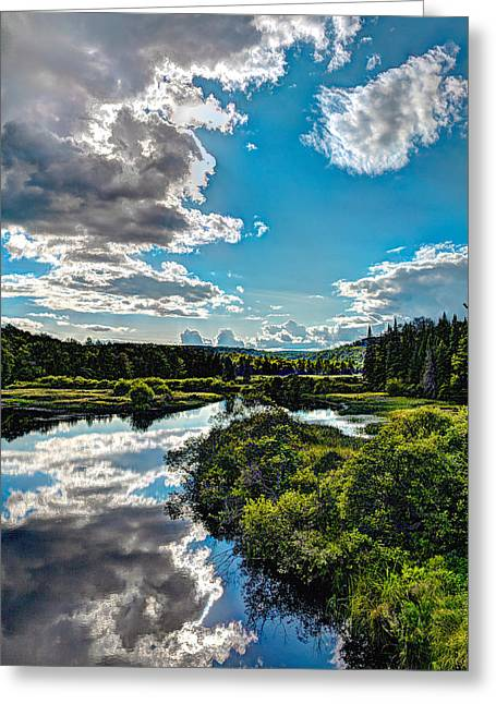 Lush Green Greeting Cards - Clouds over the Moose River Greeting Card by David Patterson