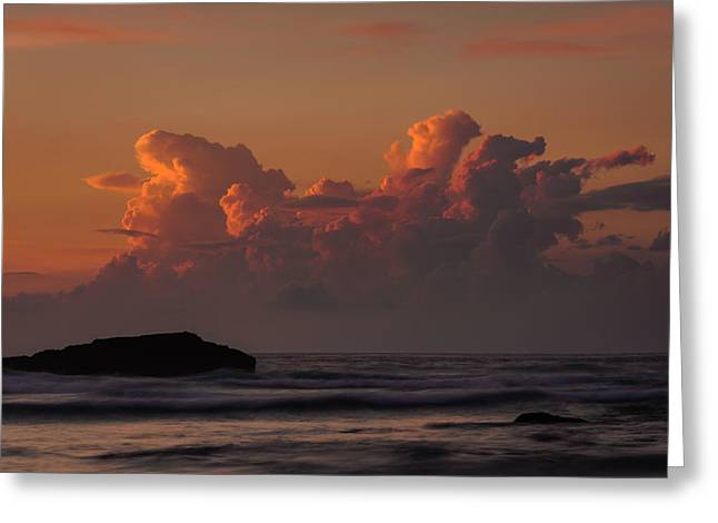 Storm Clouds; Sunset; Twilight; Water Greeting Cards - Clouds Over The Ocean Greeting Card by Marco Oliveira