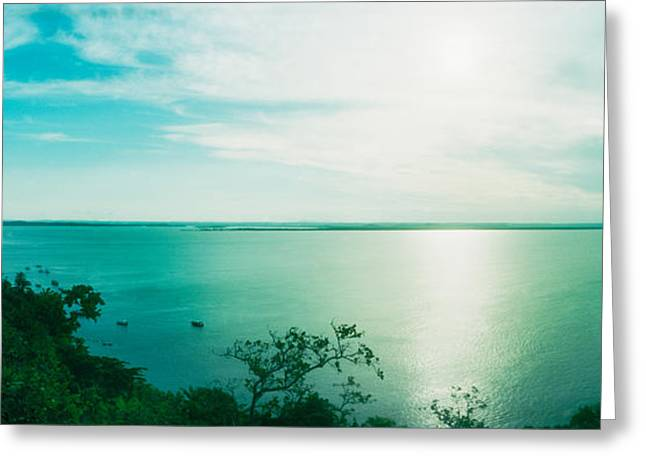 Sao Paulo Greeting Cards - Clouds Over The Ocean, Morro De Sao Greeting Card by Panoramic Images
