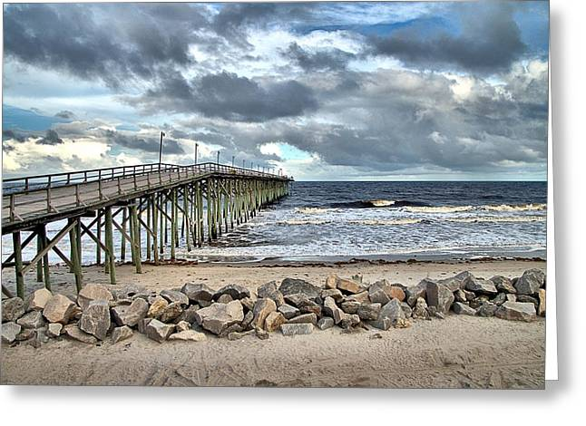 Storm Clouds Pyrography Greeting Cards - Clouds Over The Pier Greeting Card by Willard Killough III