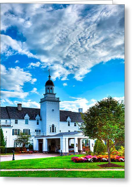 The Lake George Greeting Cards - Clouds over the Sagamore Resort Greeting Card by David Patterson