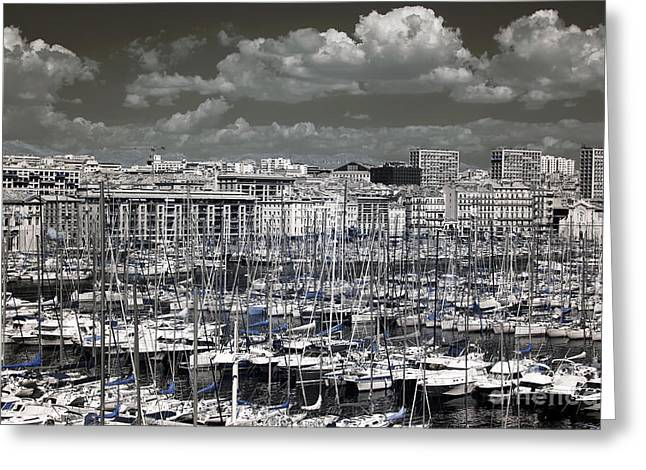 Azur Greeting Cards - Clouds over the Vieux Port Greeting Card by John Rizzuto