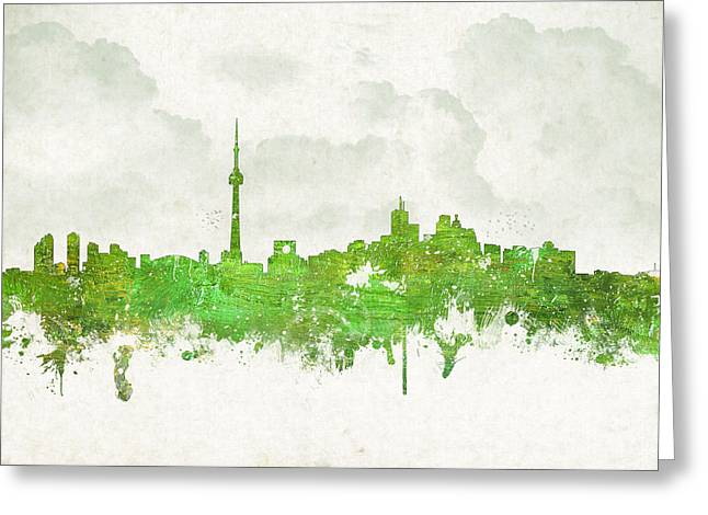 Historic Architecture Mixed Media Greeting Cards - Clouds Over Toronto Canada Greeting Card by Aged Pixel