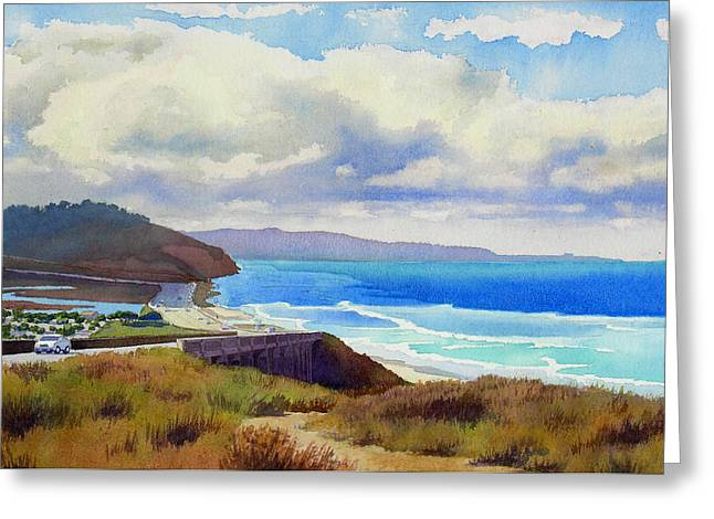 Southern California Beach Greeting Cards - Clouds over Torrey Pines Greeting Card by Mary Helmreich