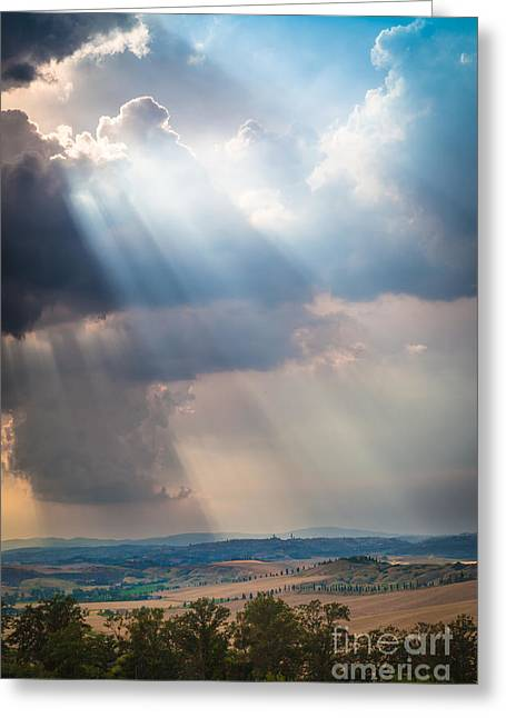Crete Greeting Cards - Clouds over Tuscany Greeting Card by Inge Johnsson