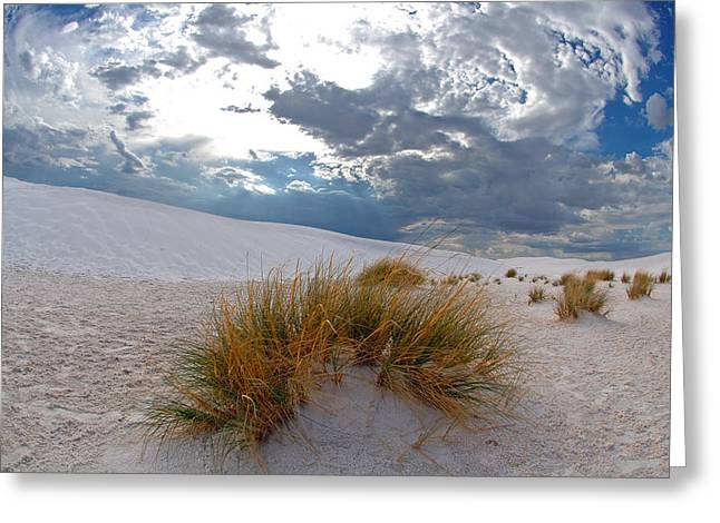 Summer Storm Greeting Cards - Clouds over White Sands Greeting Card by Mark McKinney