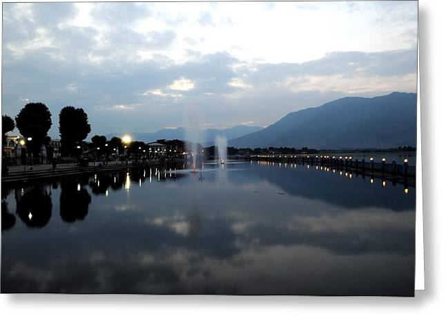 Dal Lake Greeting Cards - Clouds Reflection Greeting Card by Wajahat Iqbal