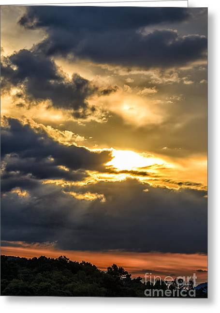Colorful Cloud Formations Greeting Cards - Clouds Sun Rays Greeting Card by Thomas R Fletcher